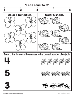 Counting 3, 4, 5: Math Practice Page - Printable Worksheet