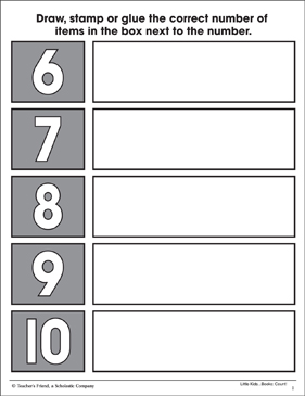 Counting Six to Ten: Math Practice Page - Printable Worksheet