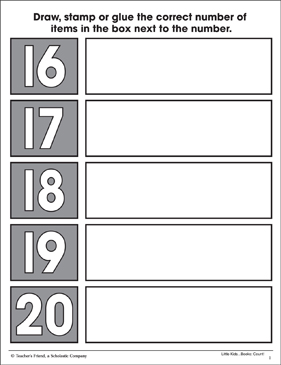 Counting Sixteen to Twenty: Math Practice Page - Printable Worksheet