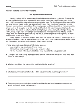 The Impact of the Automobile: Passage and Questions - Printable Worksheet