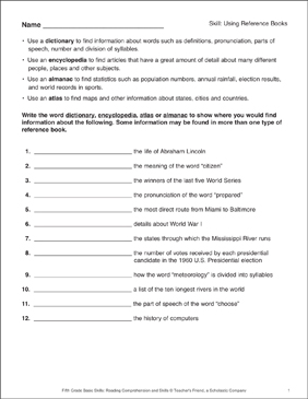 Using Reference Books - Printable Worksheet