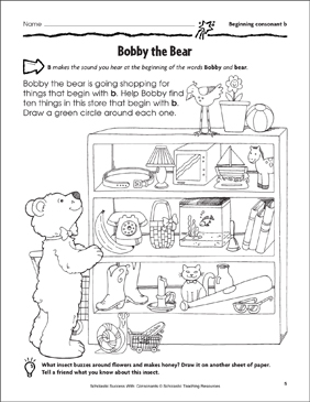 Bobby the Bear - Beginning Consonant B (Practice Page) - Printable Worksheet