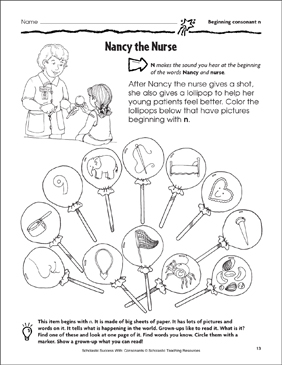graphic relating to Look and Find Printable referred to as Nancy the Nurse - Starting up Consonant N (Train Webpage