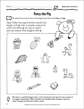 Patsy the Pig - Beginning Consonant P (Practice Page) - Printable Worksheet
