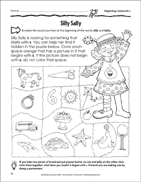 Silly Sally - Beginning Consonant S (Practice Page) - Printable Worksheet