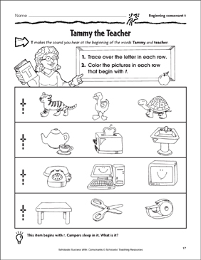 Tammy the Teacher - Beginning Consonant T (Practice Page) - Printable Worksheet