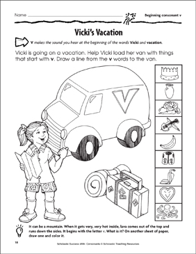 Vicky's Vacation - Beginning Consonant V (Practice Page) - Printable Worksheet