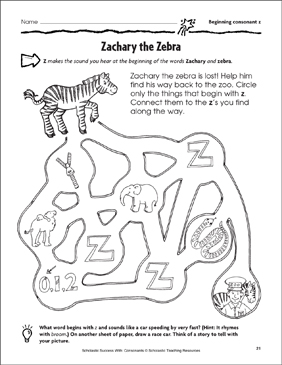 Zachary the Zebra - Beginning Consonant Z (Practice Page) - Printable Worksheet