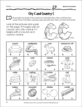 City C and Country C - Special Consonants (Practice Page) - Printable Worksheet