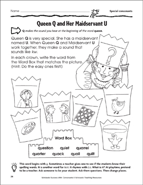 Queen Q and Her Maidservant U - Special Consonants (Practice Page) - Printable Worksheet
