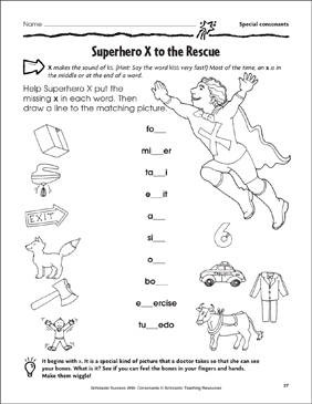 Superhero X to the Rescue - Special Consonants (Practice Page) - Printable Worksheet