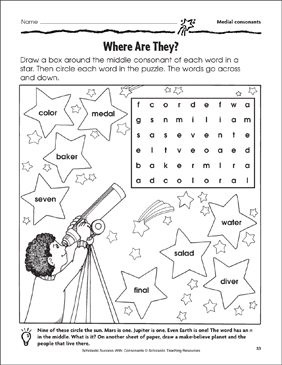 Where Are They? - Medial Consonants (Practice Page) - Printable Worksheet