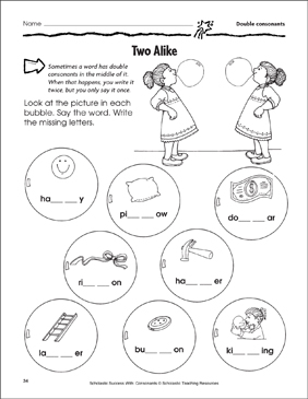 Two Alike - Double Consonants (Practice Page) - Printable Worksheet