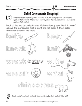 Shhh! Consonants Sleeping! - Silent Consonants (Practice Page) - Printable Worksheet