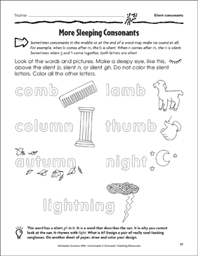 More Sleeping Consonants - Silent Consonants (Practice Page) - Printable Worksheet