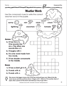 Weather Words - Consonant Fun (Practice Page) - Printable Worksheet