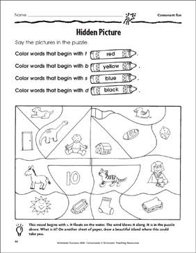 Hidden Picture - Consonant Fun (Practice Page) - Printable Worksheet