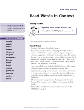 More Verbs to Know: Read Words in Context - Printable Worksheet