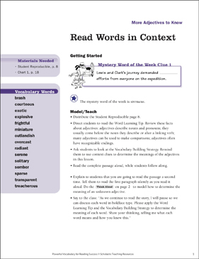 More Adjectives to Know: Read Words in Context - Printable Worksheet