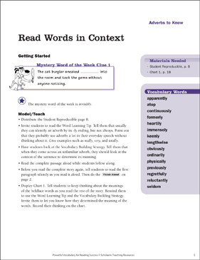Adverbs to Know: Read Words in Context - Printable Worksheet