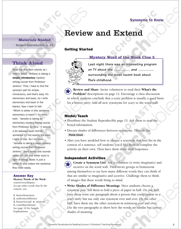 Synonyms to Know: Read Words in Context (Grades 5-6) | Printable