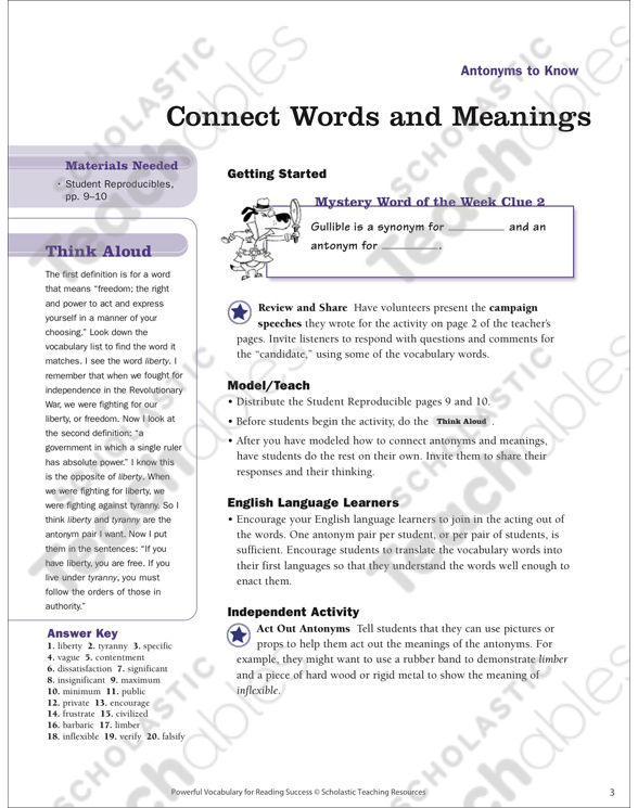 Antonyms to know read words in context printable lesson plans see inside image stopboris Image collections