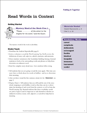 Putting It Together: Read Words in Context - Printable Worksheet
