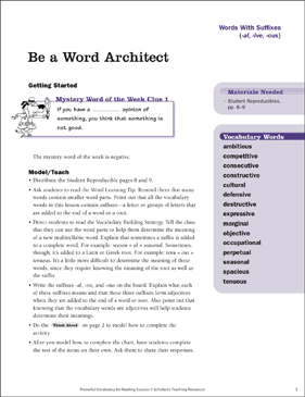 Words With Suffixes: Be a Word Architect - Printable Worksheet