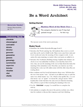 Words With Common Roots: Be a Word Architect - Printable Worksheet
