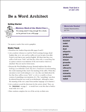 Words That End in -et/-ette: Be a Word Architect - Printable Worksheet