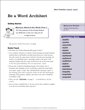 Word Families: Be a Word Architect - Printable Worksheet