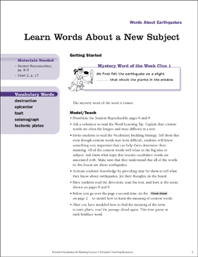Earthquakes: Learn Words About a New Subject - Printable Worksheet