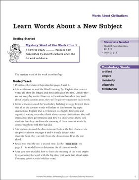 Civilizations: Learn Words About a New Subject - Printable Worksheet
