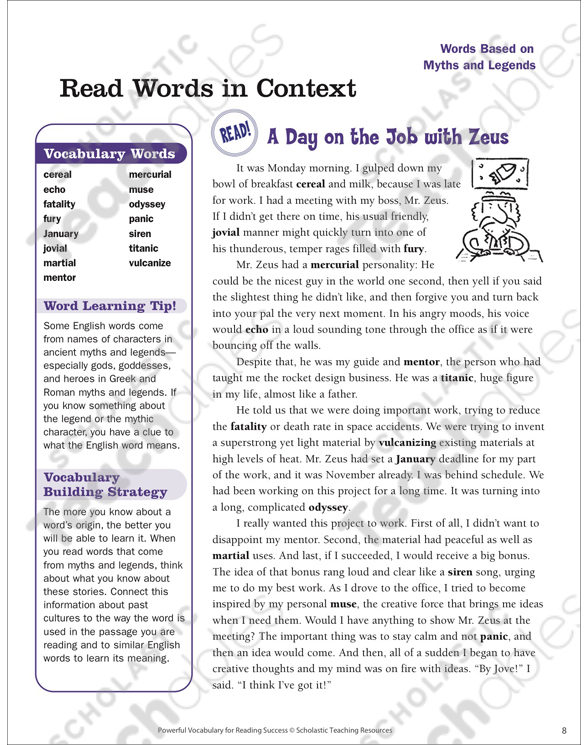 Myths and Legends: Read Words in Context | Printable Lesson Plans ...