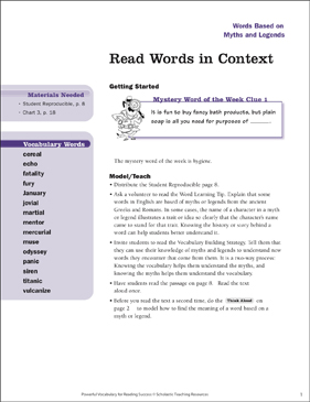 Myths and Legends: Read Words in Context - Printable Worksheet