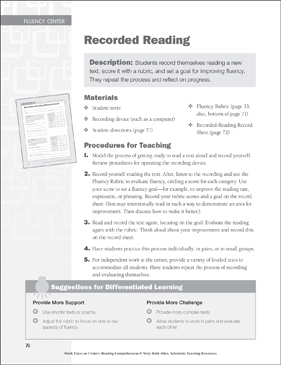 Recorded Reading: Fluency Learning Center - Printable Worksheet
