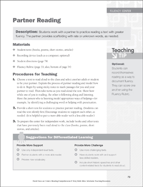Partner Reading: Fluency Learning Center - Printable Worksheet