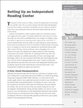 Setting Up an Independent Reading Center: Learning Center - Printable Worksheet