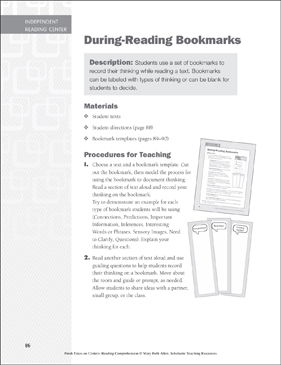 During-Reading Bookmarks: Independent Reading Learning Center - Printable Worksheet
