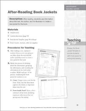 After-Reading Book Jackets: Independent Reading Learning Center - Printable Worksheet