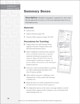 Summary Boxes: Independent Reading Learning Center - Printable Worksheet