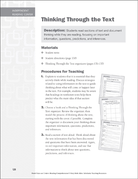 Thinking Through the Text: Independent Reading Learning Center - Printable Worksheet