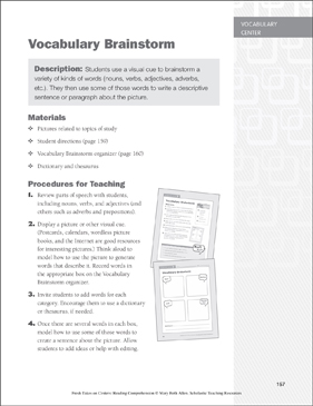 Vocabulary Brainstorm: Vocabulary Learning Center - Printable Worksheet