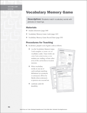 Vocabulary Memory Game: Vocabulary Learning Center - Printable Worksheet