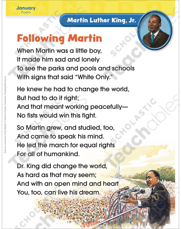 Martin Luther King Jr Famous American Printable Texts