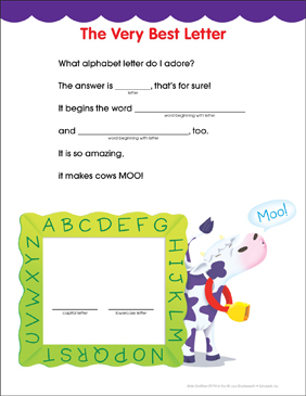 The Very Best Letter: Fill-in Fun Page - Printable Worksheet