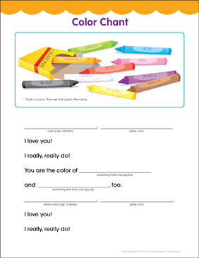 Color Chant: Fill-in Fun Page - Printable Worksheet
