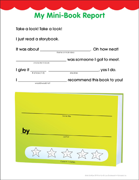 My Mini-Book Report: Fill-in Fun Page - Printable Worksheet