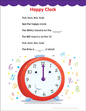 Happy Clock: Fill-in Fun Page - Printable Worksheet