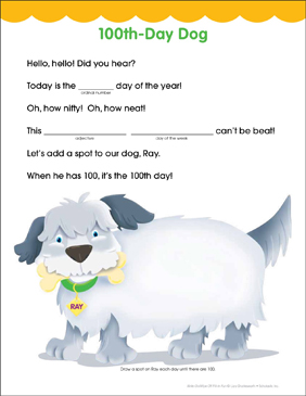 100th-Day Dog: Fill-in Fun Page - Printable Worksheet